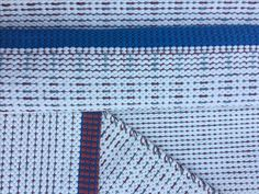 Handwoven white cotton rug with a strong blue border White Cotton, Hand Weaving, Strong, Shades, Rugs, Blue, Home Decor, Fashion, Farmhouse Rugs