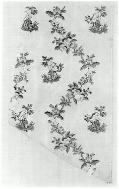 Fragment of taffeta  English, 18th century  England  DIMENSIONS  35.9 x 61.6 cm (14 1/8 x 24 1/4 in.); Legacy dimension: Detail: 20 x 30 in,   ACC No   52.999, Irregularly-shaped piece of fine white silk taffeta (now yellowed and stained in places), probably from skirt of a dress; design of angular serpentines formed of wild roses, pansies, and other small flowers with figure, in Chinese costume standing under a bush, outlines block-printed in black; colors painted directly on silk by hand