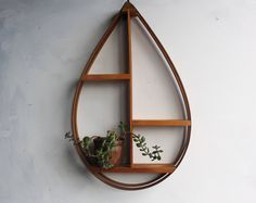 Large Vintage Mid Century Modern Danish Teardrop Wall Shelf