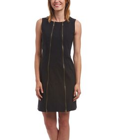 $36.99 Loving this Black Zipper Sheath Dress on #zulily! #zulilyfinds