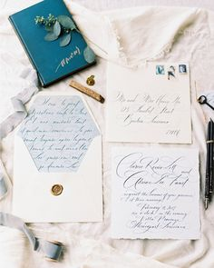 French Chateau Inspired Calligraphy Wedding Invitations by Paperglaze Calligraphy