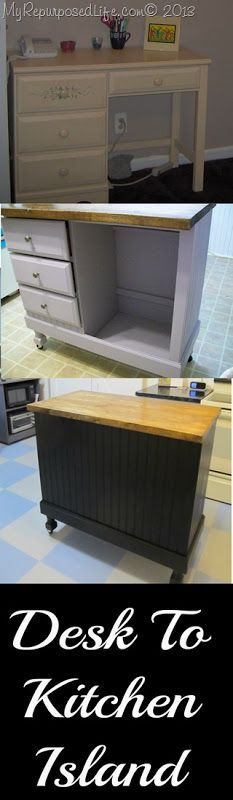 DIY Kitchen Island - leave the right drawer intact for more utensil or cutlery storage. the tall section ideal for recycling cans. add hooks and rails around sides and back for even more convenience. knee-hole desk will provide double the drawer space! Furniture Projects, Furniture Making, Home Projects, Diy Furniture, Kitchen Furniture, Unique Furniture, Furniture Storage, Furniture Design, Refurbished Furniture