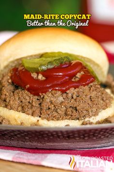Maid-Rite Copycat (Loose Meat Sandwiches) - made with perfectly seasoned, tender slow-cooked ground beef. Use with low carb tortillas #recipe #MaidRite