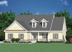 Love the grey roof, love the yellow siding, love the grey brick along the bottom. ♥.