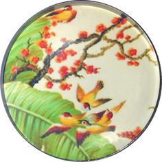Glass Dome Button Swallows & Cherry Tree 1 & 3/8 inch  AAI 53