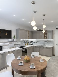 Kitchen Lighting Tip A Bright Ceiling Creates A Bright Kitchen Room Design, Home Decor Kitchen, Interior Design Kitchen, Kitchen Furniture, Home Kitchens, Kitchen Sets, Modern Kitchen Interiors, Modern Kitchen Cabinets, Dining Table Lighting