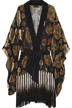 Agent Provocateur | Mistie fringed devoré-velvet and chiffon robe | NET-A-PORTER.COM