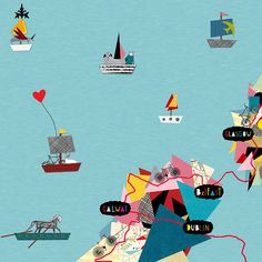 Map illustration for OSDN magazine and exhibition by Thereza Rowe