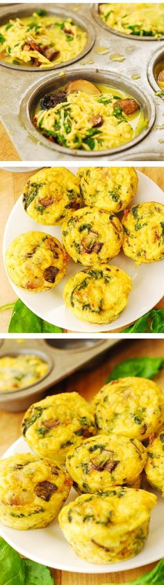 Breakfast Egg Muffins with Mushrooms and Spinach – these crustless mini quiches are perfect for breakfast, brunch, or potluck! Packed with protein, fiber, and veggies. Vegetarian, gluten free recipe. (garlic mushrooms spinach)
