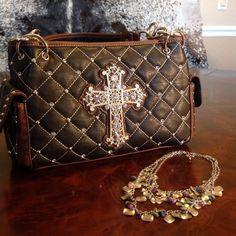 Montana West Crystal Cross Quilted Handbag Purse - Black