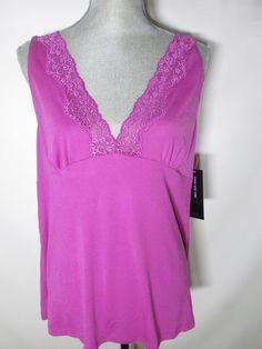 Jones New York Elegant Purple Lace Knit Cami Pajama Sleep Top XL #JonesNewYork #PajamaTopCamiSleepshirt