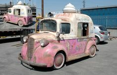 Sweet little ice-cream truck. - - : Sweet little ice-cream truck. Mini Camper, Vw Vintage, Vintage Trucks, Volkswagen, Cool Trucks, Cool Cars, Classic Trucks, Classic Cars, Ice Cream Van