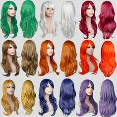 13色使用可能なロング波状白/赤ヨーロッパwesten毎日毛人工毛かつら、ホットファッションレディースパーティー髪コスプレウィッグ