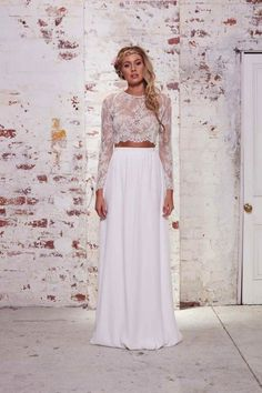 Sexy 2-piece crop top wedding dress from Karen Willis Holmes' The Wild Hearts Collection
