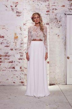 Sexy 2-piece crop top wedding dress from Karen Willis Holmes' The Wild Hearts Collection