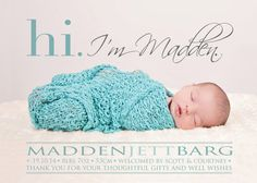 Hi BIRTH ANNOUNCEMENT Thank you Photo Baby by babybaloo on Etsy $16.75 USD Australian announcement Baby announcement Baby Boy announcement etst