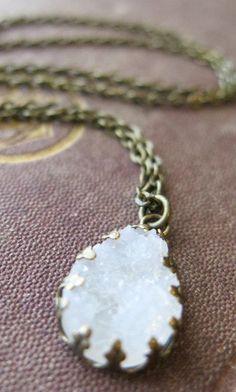 Druzy Necklace White - Jewelry