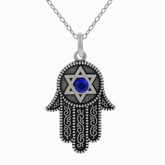 Journee Collection Sterling Silver Blue Cubic Zirconia Hamsa Necklace, White, Size 18 Inch
