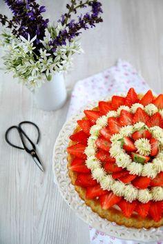 Gâteau aux fraises, crème mascarpone au citron vert