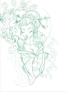 Geisha design (add baby girls freckle next to left eye) Geisha Tattoos, Geisha Tattoo Design, Geisha Tattoo Sleeve, Irezumi Tattoos, Geisha Drawing, Geisha Art, Art Drawings Sketches, Tattoo Sketches, Tattoo Drawings