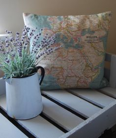Hand crafted cushion with geographical print by by HillyHortonHome