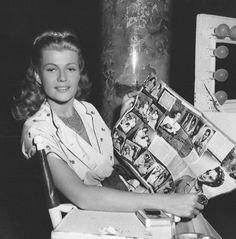 Rita Hayworth candid on the set of Salome