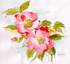 Wild Roses, Watercolor by Betsy Jacaruso Watercolour Painting, Watercolor Flowers, Painting & Drawing, Watercolors, Illustrations, Chinese Painting, Art Tutorials, Flower Art, Pink Flowers