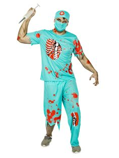 Zombie-Chirurg Halloweenkostüm Arzt türkis-rot. Aus der Kategorie Halloween Kostüme / Halloween Kostüme Herren. Dieser Horror-Chirurg bietet zwar recht günstige Preise für seine Operationen, aber Sie sollten es sich dennoch genau überlegen, ob Sie sich bei dem Zombie-Arzt unters Messer legen wollen. Denn das, was Sie an Geld sparen, schlägt der wahnsinnige Schlächter in anderer Form wieder drauf!