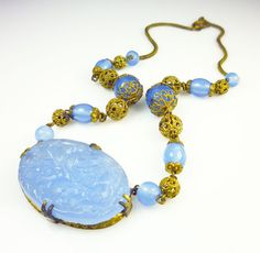 Art Deco Necklace Czech Chalcedony Blue Glass Gold Filigree Ball Antique Jewelry