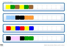 Activities based around continuing simple patterns with maths cubes. All patterns included use 3 colours. Version 1 is designed to compliment Unifix cubes while version 2 compliments Multilink. If preferred, pupils can continue the patterns using colou. Preschool Math, Kindergarten Math, Teaching Math, Teaching Resources, Maths, Graphing Activities, Classroom Activities, Numeracy, Math Patterns