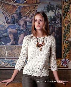 Белый пуловер спицами схемы. Эффектный пуловер спицами по китайским схемам   Я Хозяйка