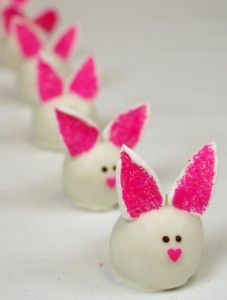 Cake Ball Bunnies those little noses are so cute (mini sprinkles)  they look too good to eat !
