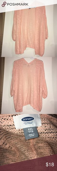 Old Navy Peach Cardigan Oversized fit cardigan size XXL.  Light and cozy with roomy sleeves, hits below waist with an open front.  Hardly worn and in great condition.  Bundle with similar style and XXL tops in my closet for discounts!! Old Navy Sweaters Cardigans