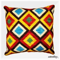 Chile, Needlepoint Pillows, Fashion Sewing, Lana, Cross Stitch Patterns, Cushions, Tapestry, Throw Pillows, Blanket
