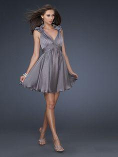 Empire V-neck Chiffon Short/Mini Sleeveless Beading Prom Dresses at Msdressy