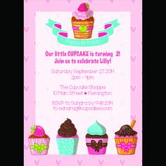 Cupcakes!! Girls birthday party invitation. 5x7 digital. printable. $10.00  www.pattycakespapers.etsy.com