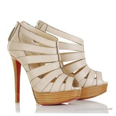 Christian Louboutin Pique Cire 140 Ankle Boots Beige