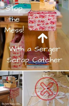 My sewing area, which is on the way to the kitchen, is a terrifying sight almost every day. An easy serger scrap catcher will put an end to this nightmare! Check the easy serger scrap catcher free sewing tutorial here. Sewing Hacks, Sewing Tutorials, Sewing Crafts, Sewing Tips, Serger Projects, Sewing Projects For Beginners, Diy Projects, Techniques Couture, Sewing Techniques