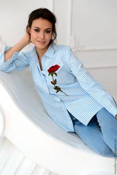 Cotton blouse with emroidery | Купить Блуза в полоску с аппликацией роза - в полоску, бирюзовый, белый, голубой, блуза женская