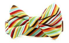 Striped Dog Bow Tie Collar Set, Dad's Retro Tie