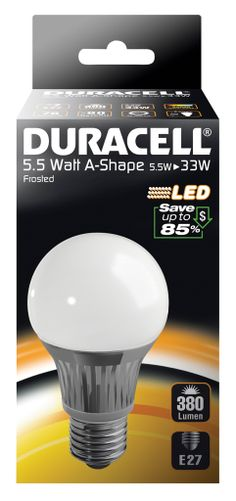 DRLEDA5 Duracell LED Frosted GLS Light Bulb - E27 5.5W - http://www.duracelldirect.co.uk/pno/drleda5.html