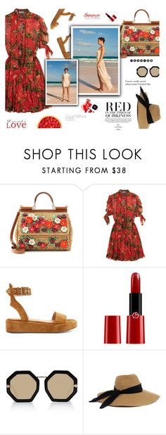 """""""Reddish"""" by isobel ❤ liked on Polyvore featuring Dolce&Gabbana, Faith Connexion, Gianvito Rossi, Giorgio Armani, By Terry, Karen Walker, Eugenia Kim, Chanel and WALL"""