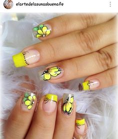 Yellow butter flies nail art 9 inch nails in 2019 ногти, иде Butterfly Nail Designs, Toe Nail Designs, Hot Nails, Hair And Nails, Gorgeous Nails, Pretty Nails, Summer Nails 2018, Nail Polish Art, Spring Nail Art