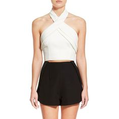 Finders Keepers the Label 'Wrong Direction' Halter Crop Top ($130) ❤ liked on Polyvore featuring tops, white, criss cross top, white top, zip crop top, halter top and halter neck top