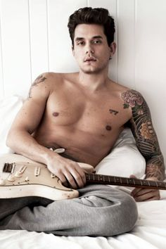 John Mayer - Rolling Stone Cover - shirtless, tattoos, guitar, sexy