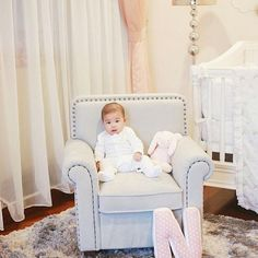 My daughter has her own sofa! I cant wait to see her sit there by herself and r Cant Wait, Bassinet, To My Daughter, Toddler Bed, Armchair, Sofa, Furniture, Home Decor, Child Bed