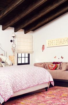 The Spanish-style home of a Rizzoli & Isles star, Sasha Alexander, gets a full remodel and we're here to show you what's inside. Home Bedroom, Girls Bedroom, Bedroom Decor, Bedroom Ideas, Master Bedrooms, Girl Room, Wall Decor, Attic Design, Interior Design
