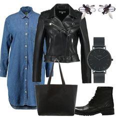 Ho pensato ad un abito in jeans con le maniche lunghe, abbinato ad un chiodo in eco pelle nero. Per la scarpe invece ho scelto un paio di anfibi neri. La borsa invece è una shopping bag nera in pelle. Per concludere orecchini con pietre sulle tonalità del nero e grigio ed un orologio nero con quadrante tondo e cinturino in acciaio.