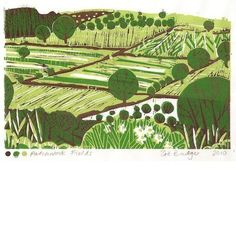 Patchwork Fields Lino print.   Designed by Zoe Badger