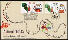 First Day Cover designed by Sara Fanelli featuring some classic children's illustrations on the stamps